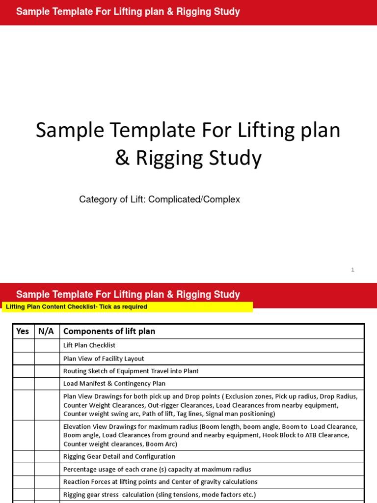Sample Lifting Plan and Rigging Study | Elevator | Crane (Machine)
