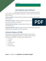 Values & Culture of HBL