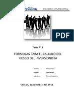 Tarea N°1 Formulas Riesgo Inversionista