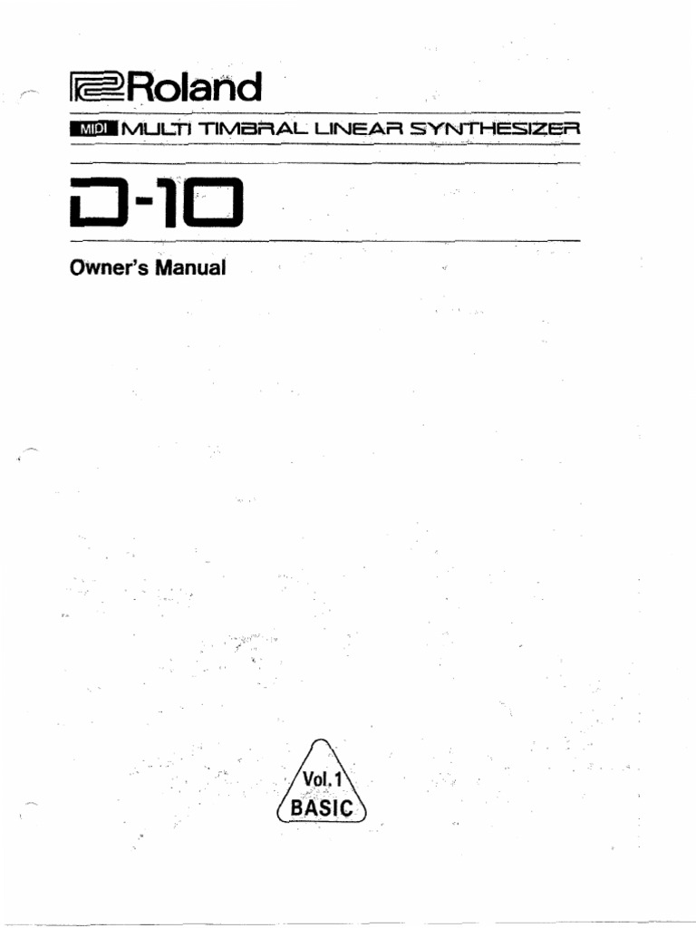Roland D-10 Owners Manual Vol 1 BASIC Searchable
