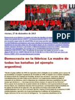 Noticias Uruguayas Viernes 27 de Diciembre Del 2013