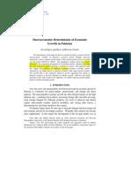 Determinants of Economic Growth Pakistan