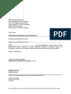 Format Surat Permohonan Buka Akaun
