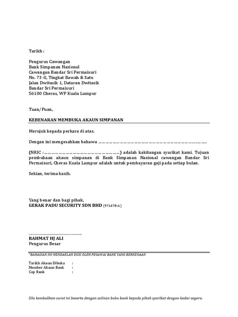 Surat Buka Akaun Di BSN Bandar Sri Permaisuri, Cheras