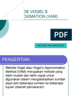 Modul OR - METODE VOGEL'S APPROXIMATION (VAM)