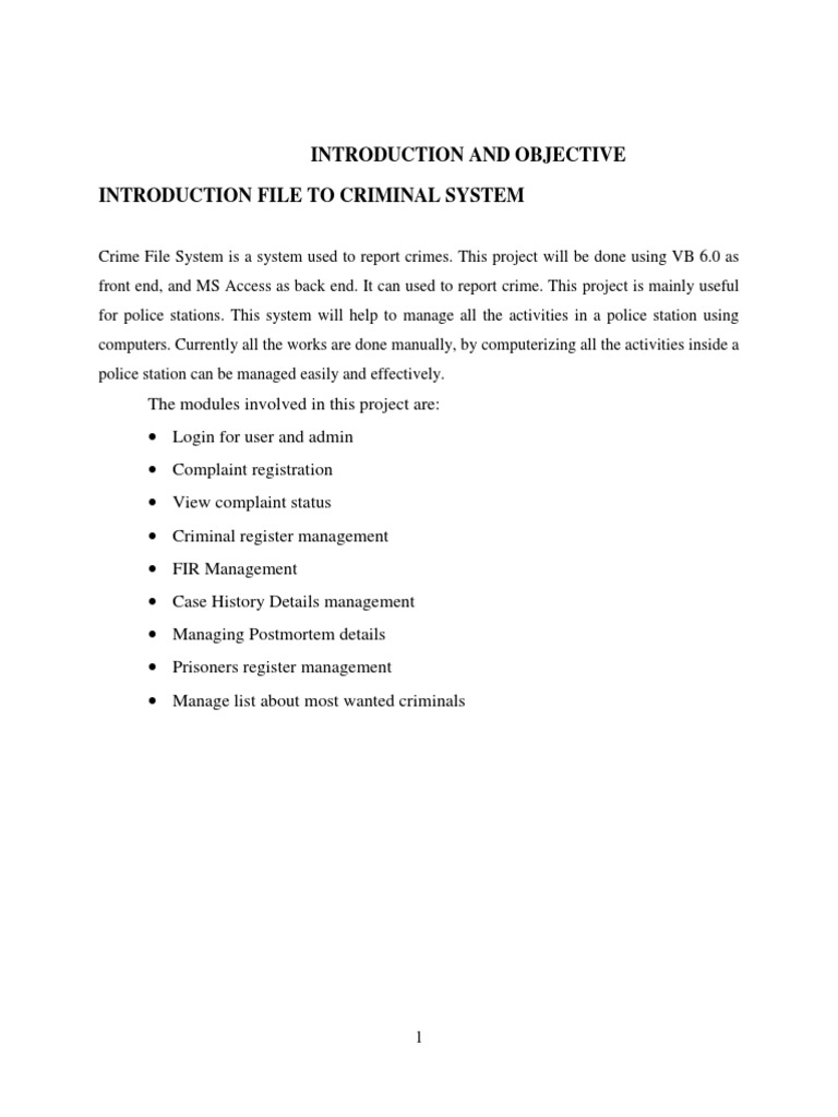 INTRODUCTION FILE TO CRIMINAL SYSTEM   | Conceptual Model