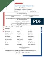 Dedication Certificate