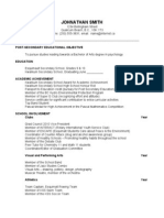 Sample Scholarship Resume