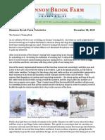 Shannon Brook Farm Newsletter 12-28-2013