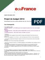 projet de budget 2014 conseil régional 9 décembre 2013