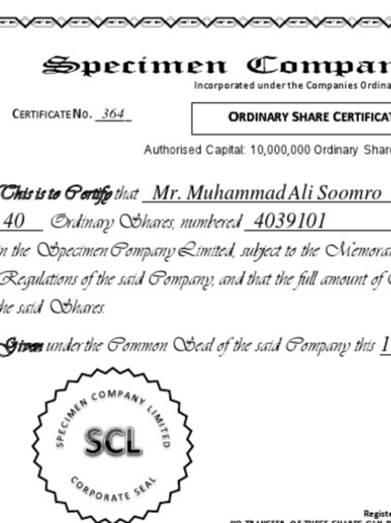 Specimen of Share Certificate | Common Stock | Articles Of Association