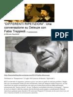 """""""DIFFERENTI RIPETIZIONI"""". Una conversazione su Deleuze con Fabio Treppiedi"""
