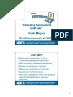 Choosing Assessment Methods