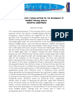 Evaluation of Different Training Methods for the Development of Handball Throwing Velocity