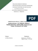 Análisis tema 1 - El trabajo, ciencia y tecnol en el capitalismo