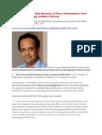 U-Turn Of The Black Hole Research of Thanu Padmanabhan