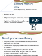Levels of Processing Memory Model Overview