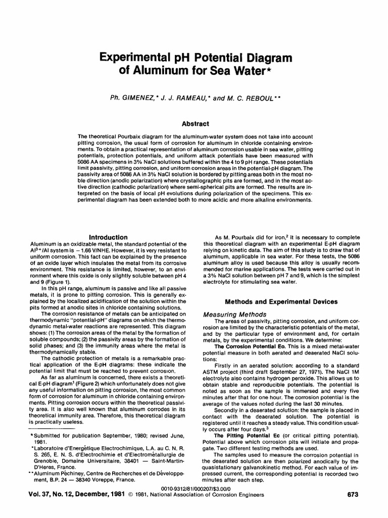Ph potential diagram of aluminum for sea water corrosion ph ccuart Choice Image