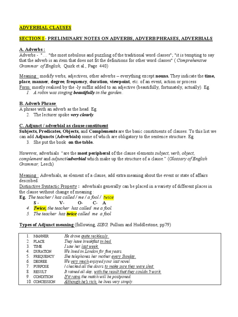 Uncategorized Adverb Clauses Worksheet english grammar adverbial clauses adverb clause