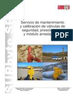 Mantenimiento y Calibracion de Valvulas de Seguridad, Vacio y Arrestallamas