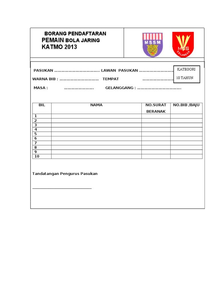 Pemain Katmo 2013 Borang Pendaftaran Bola Jaring