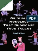 Original Monologs That Showcase Your Talent