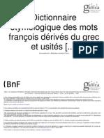 Dictionnaire Etymologique Des Mots Francais Derives Du Grec Et Usites_1805