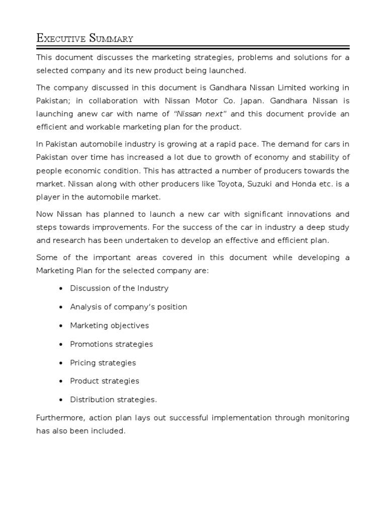 Nissan marketing plan nissan marketing for Marketing strategy of nissan motor company