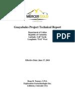 Guayabales NI 43-101 Technical Report dated June 17, 2010