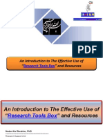 """An Introduction to The Effective Use of """"Research Tools Box"""" and Resources - By Nader Ale Ebrahim"""