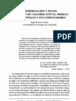 Interpretación del texto. El modelo de Gadamer ante el de Aristóteles