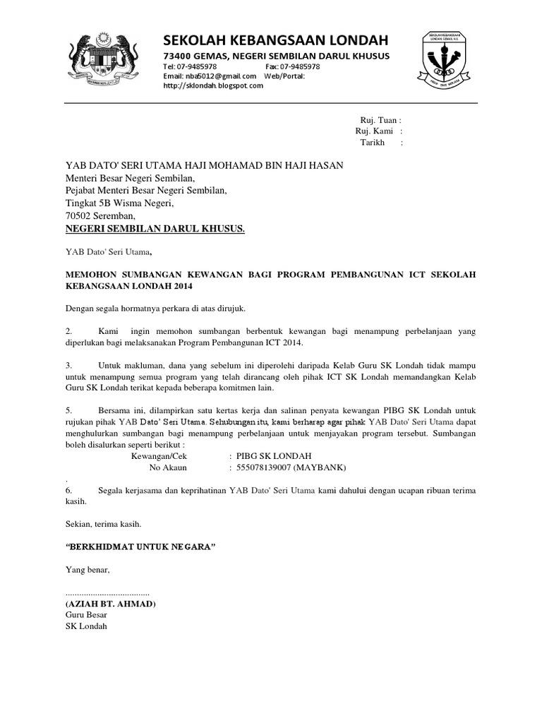 Surat Mohon Kewangan Pembangunan