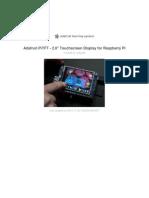 Adafruit Pitft 28 Inch Resistive Touchscreen Display Raspberry Pi