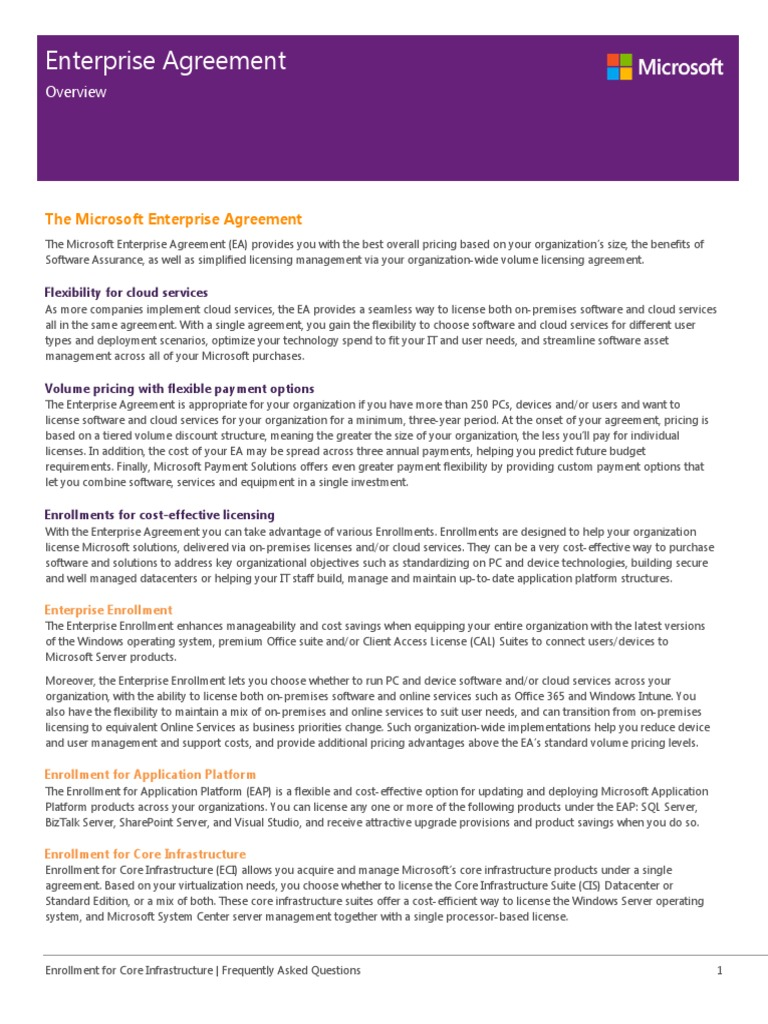 Enterprise Agreement Program Overview Subscription Business Model