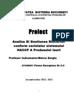 Implementarea HACCP in Sectorul de Productie Si Procesare a Laptelui Studiu de Caz Iaurtul