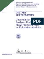 Ephedra Dangers? Uncertainties in Analyses Underlying FDA's Proposed Rule on Ephedrine Alkaloids