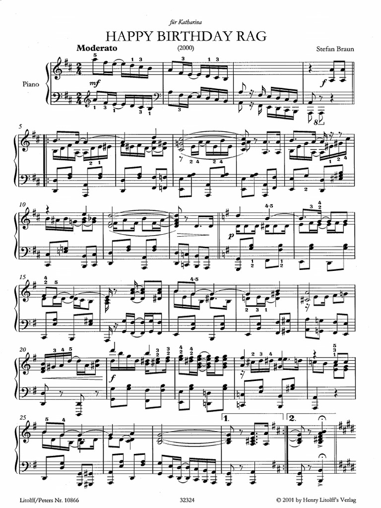 Birthday Sex Piano Sheet Music