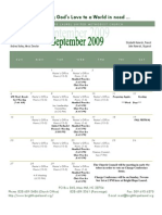 September 2009 Church Calendar