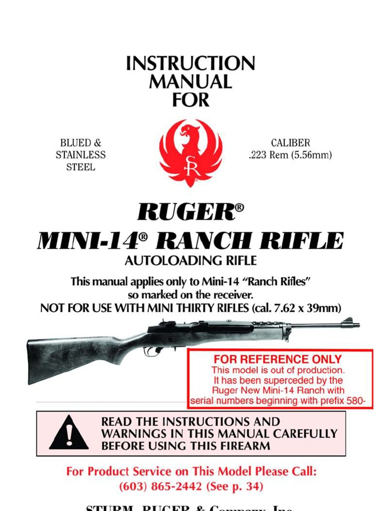 ruger mini14 instruction manual magazine firearms cartridge rh scribd com Mini-14 Parts and Accessories Ruger Mini-14 Rifle Parts