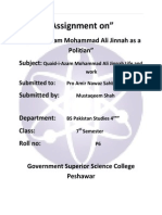 Assignment on Quaid Azam as a Polition