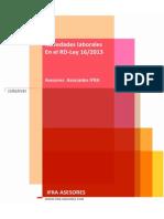 Novedades laborales en el Rd-ley 16/2013 - IFRA ASESORES