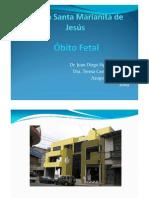Óbito fetal Clínica Santa Marianita de Jesús 2009