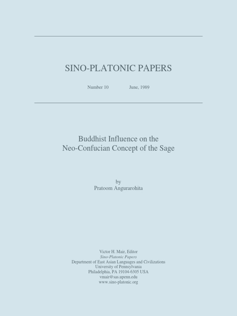 Pratoom Angurarohita - Buddhist Influence on the Neo-Confucian Concept of  the Sage | Confucianism | Chan Buddhism