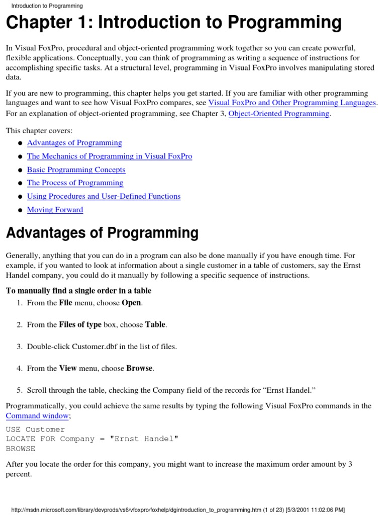 Visual Foxpro 6 Programmer's Guide | Parameter (Computer Programming