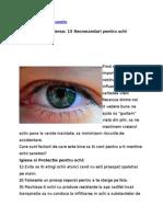 15 Recomandari Pentru Ochi Sanatosi