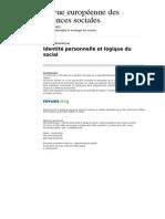 Ress 592 Xl 124 Identite Personnelle Et Logique Du Social