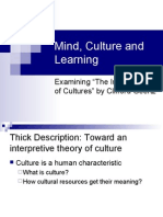 Mind, Culture and Learning