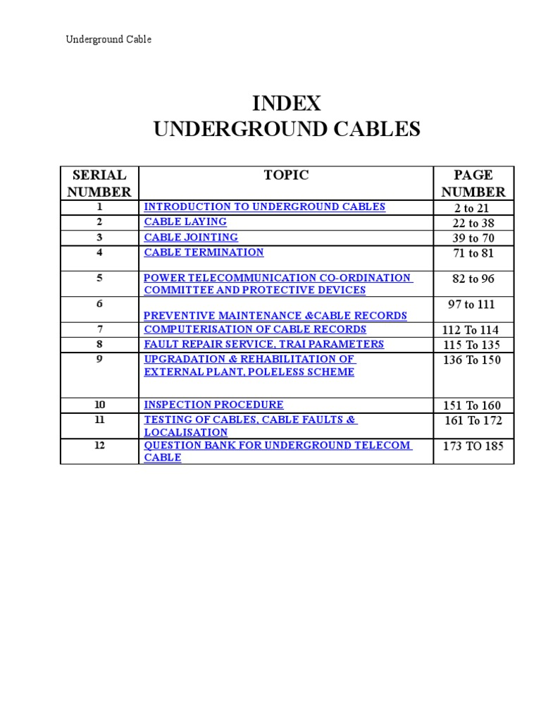 Underground Cables | Cable | Coaxial Cable