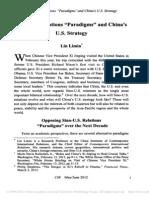 Sino-U.S. Relations Paradigms and China's U.S. Strategy