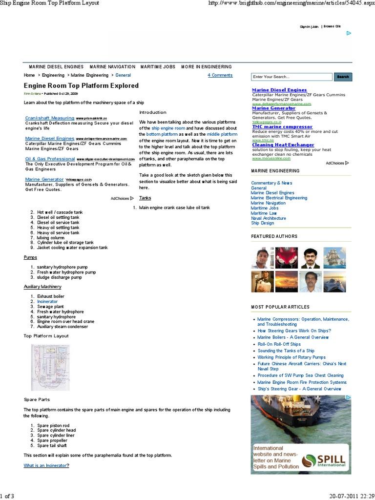 Engine Room Layout: Ship Engine Room Top Platform Layout